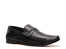 Santoni Leather Grosgrain Loafer