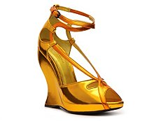 Bottega Veneta Metallic Leather Wedge Sandal