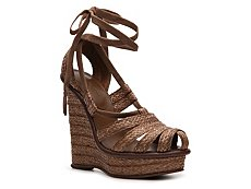 Bottega Veneta Braided Straw Wedge Sandal