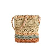 Poppie Jones Pastel Straw Crossbody Bag