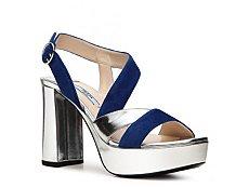 Prada Suede & Metallic Leather Platform Sandal