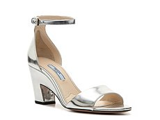 Prada Metallic Leather Ankle Strap Sandal