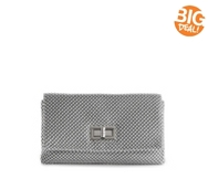 Lulu Townsend Solid Metal Mesh Flap Clutch