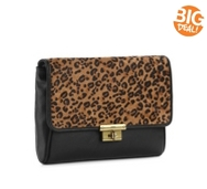 Fossil Leopard Memoir Leather Clutch
