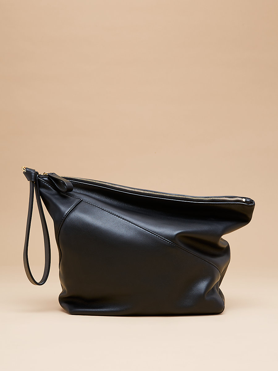 Origami Wristlet Handbag in Black by DVF
