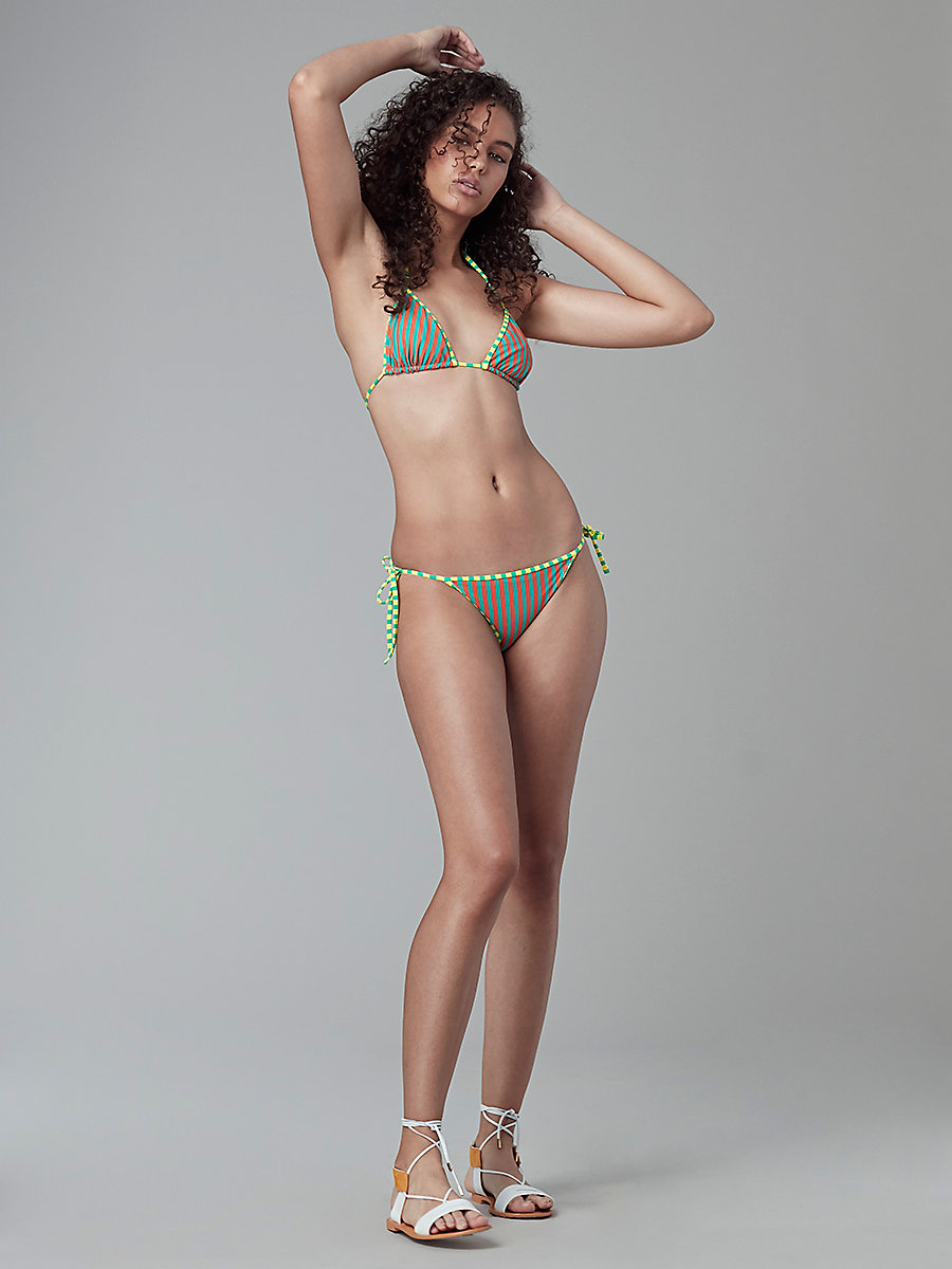 String Bikini Bottom in Borda St Ba/borda St Ay/acid Y by DVF