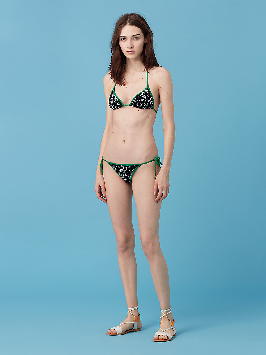 String Bikini Bottom in Becket Black/ Surf Green by DVF
