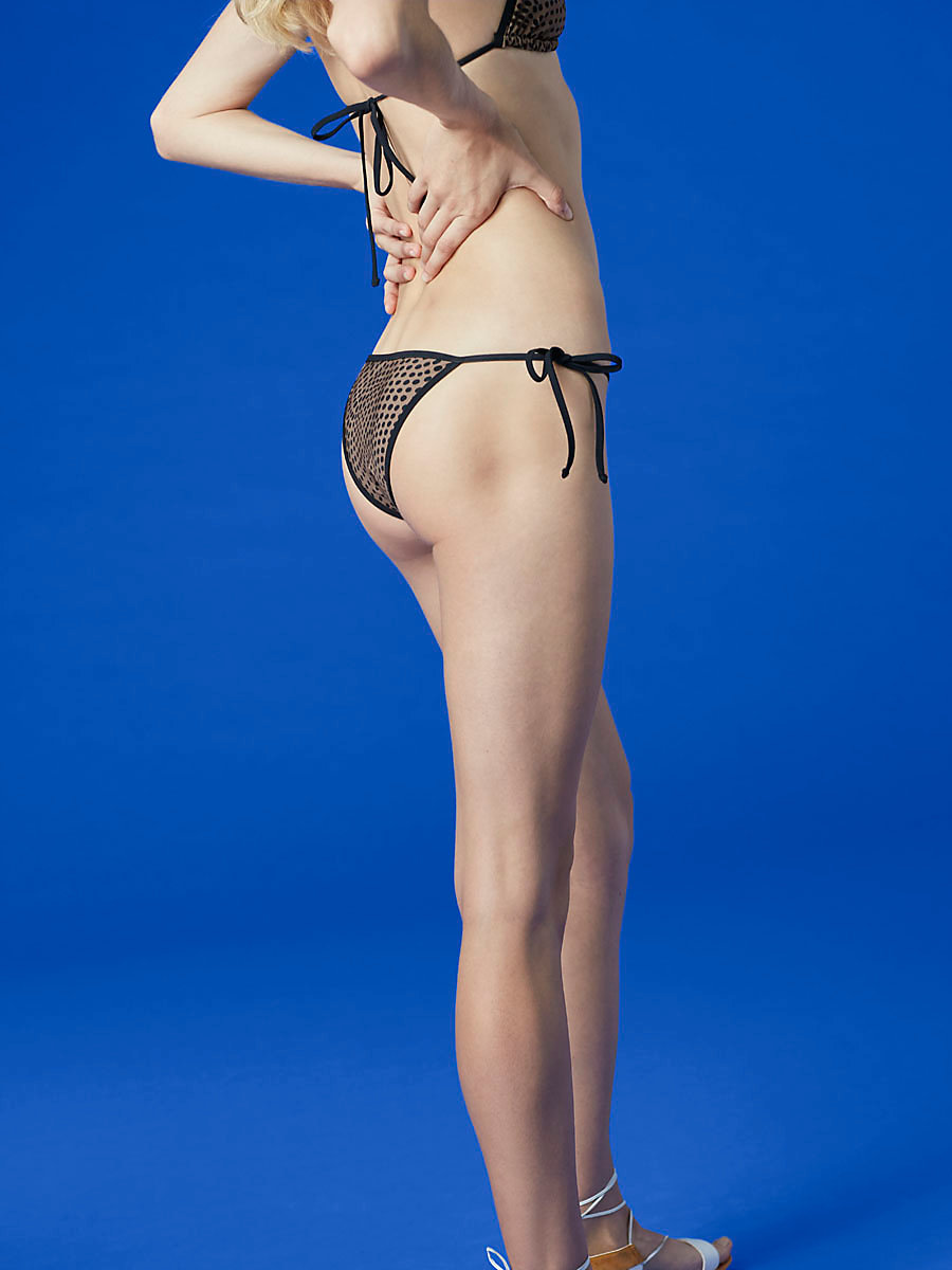 String Bikini Bottom in Easton Dot Clay/ Black by DVF