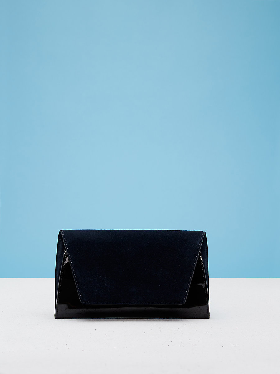 Uptown Clutch in Alexander Navy/ Black by DVF