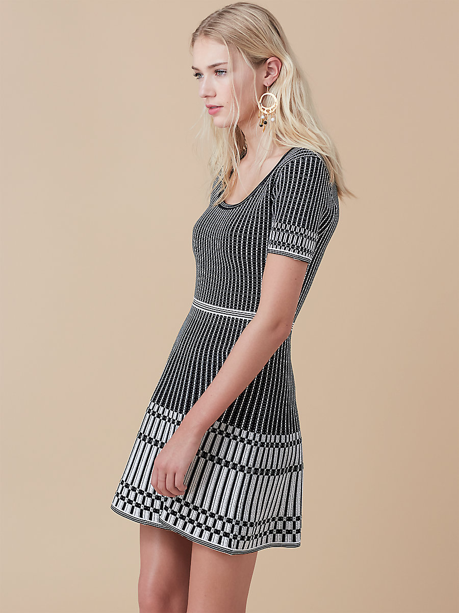 Fit and Flare Knit Dress in Black/ Ivory by DVF