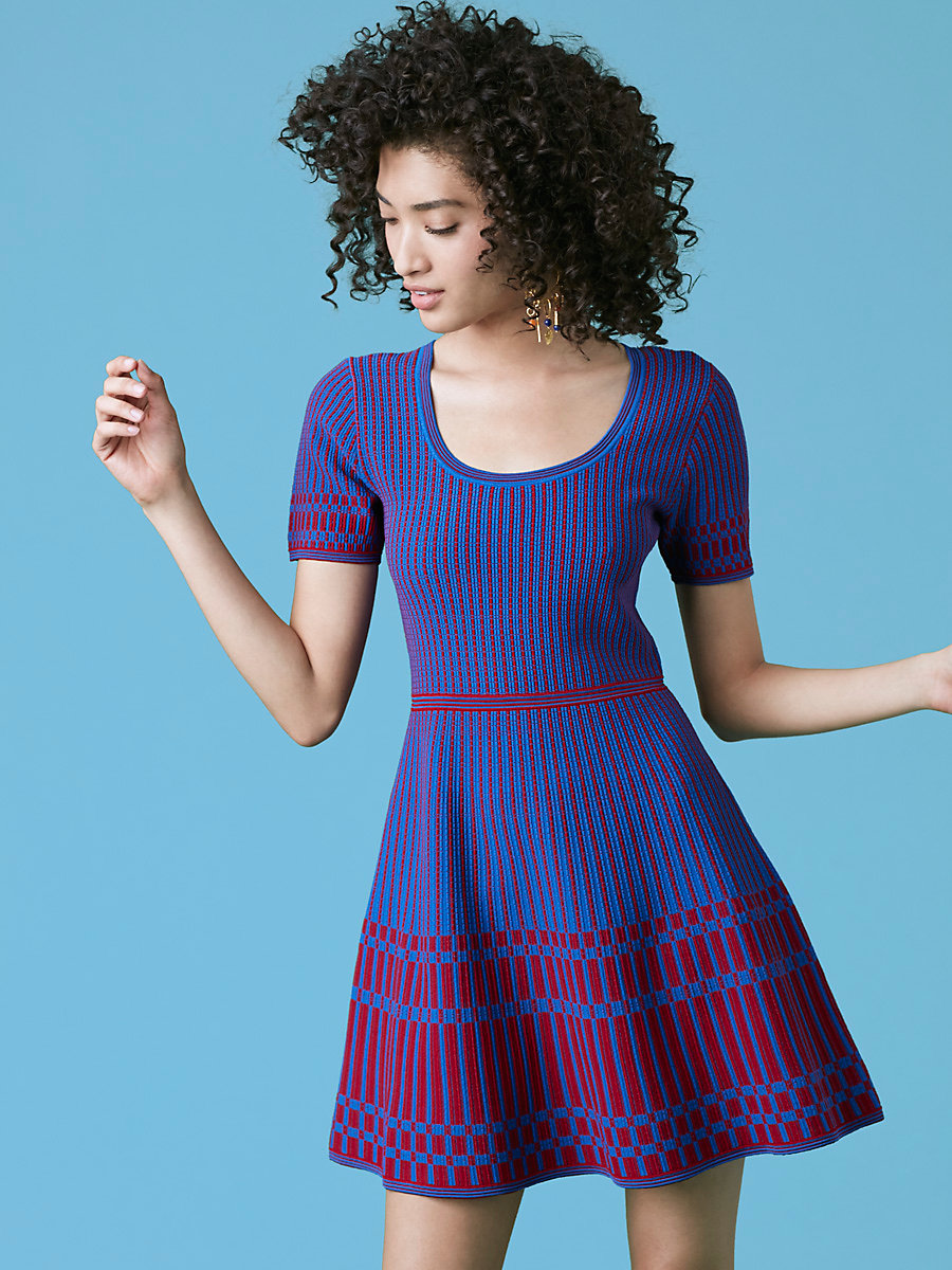 Fit and Flare Knit Dress in French Blue/red Desire by DVF