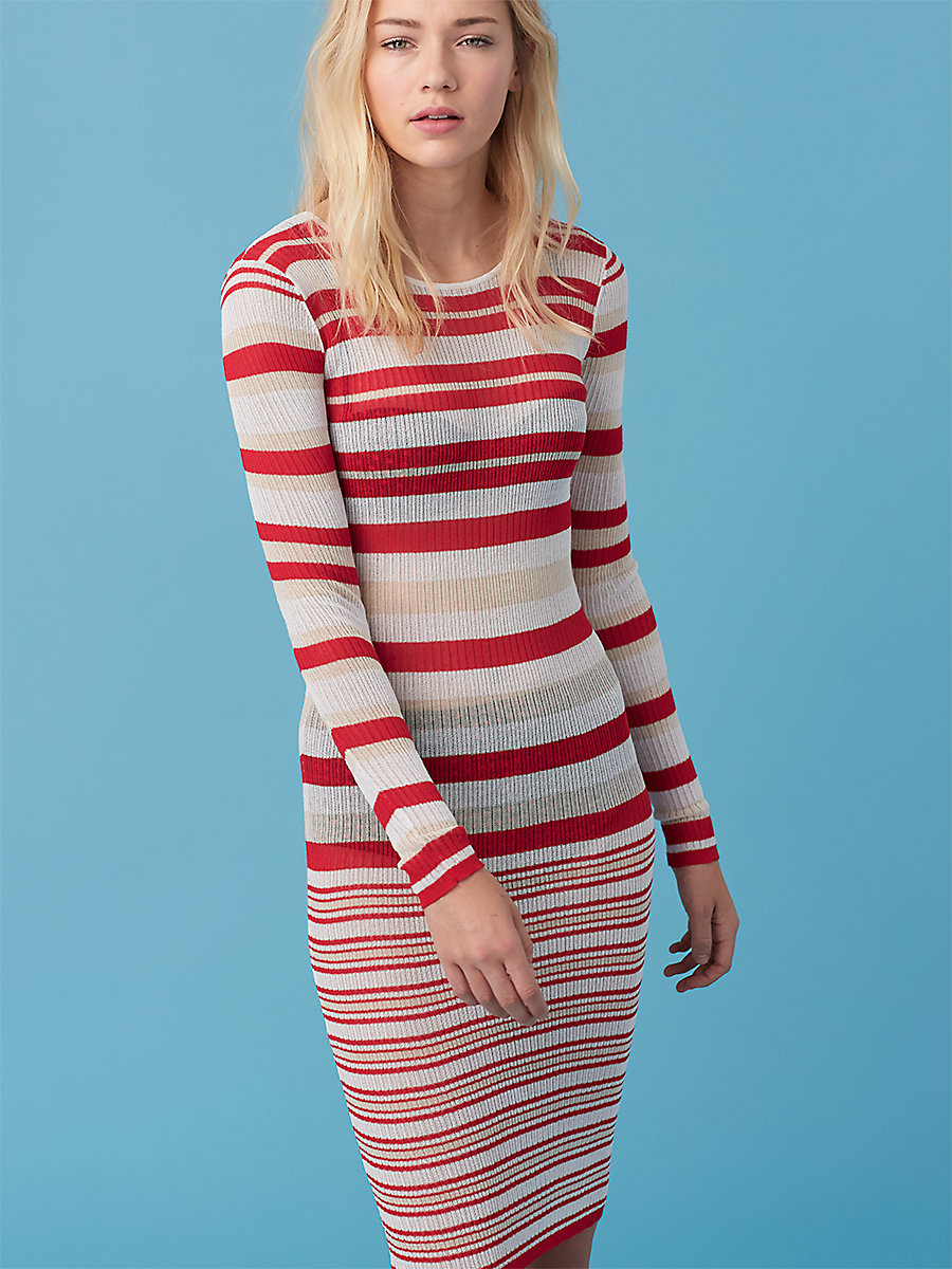 Long Sleeve Knit Dress in True Red/ Bone by DVF