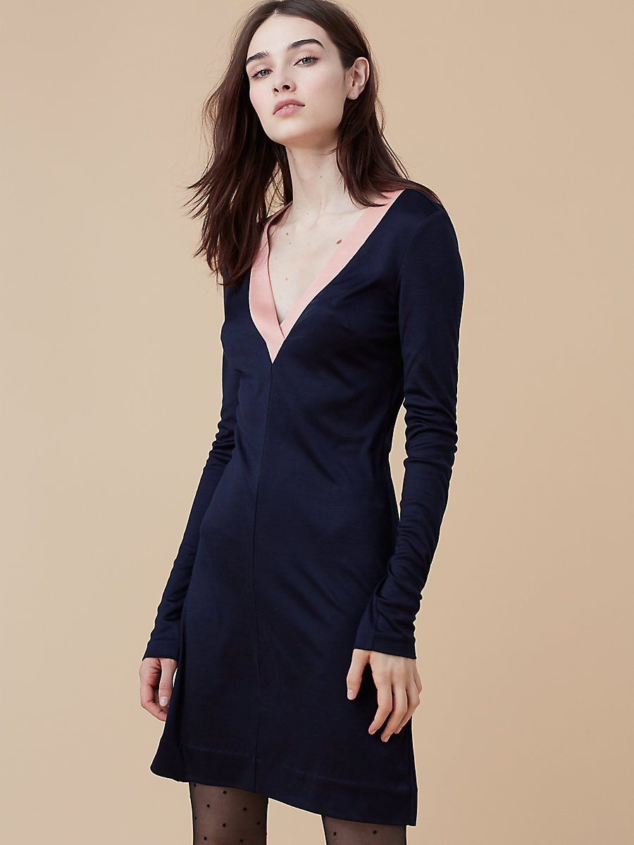 Soft V-Neck Dress in Alexander Navy/ Dusty Rose by DVF