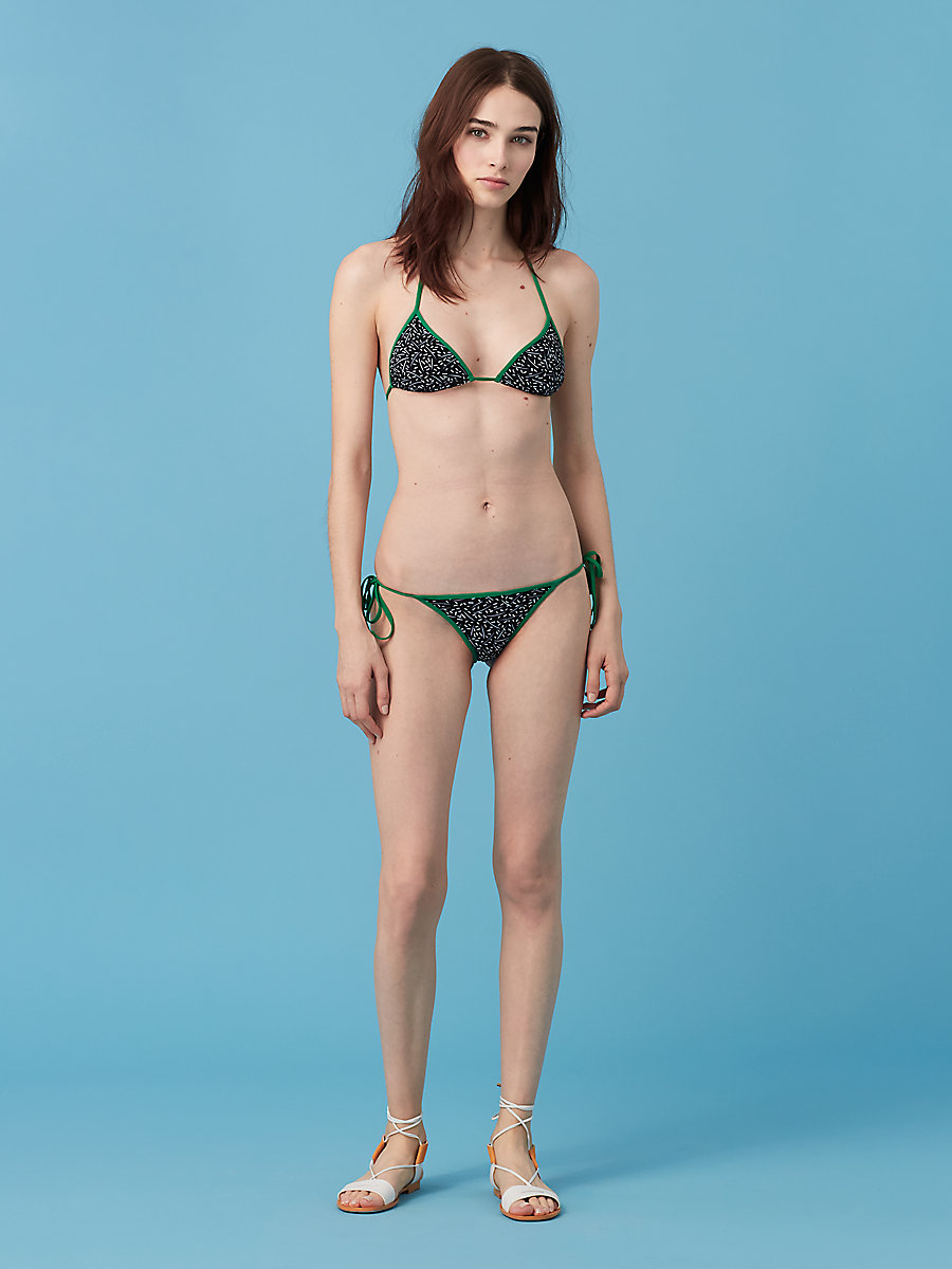 String Bikini Top in Becket Black/ Surf Green by DVF