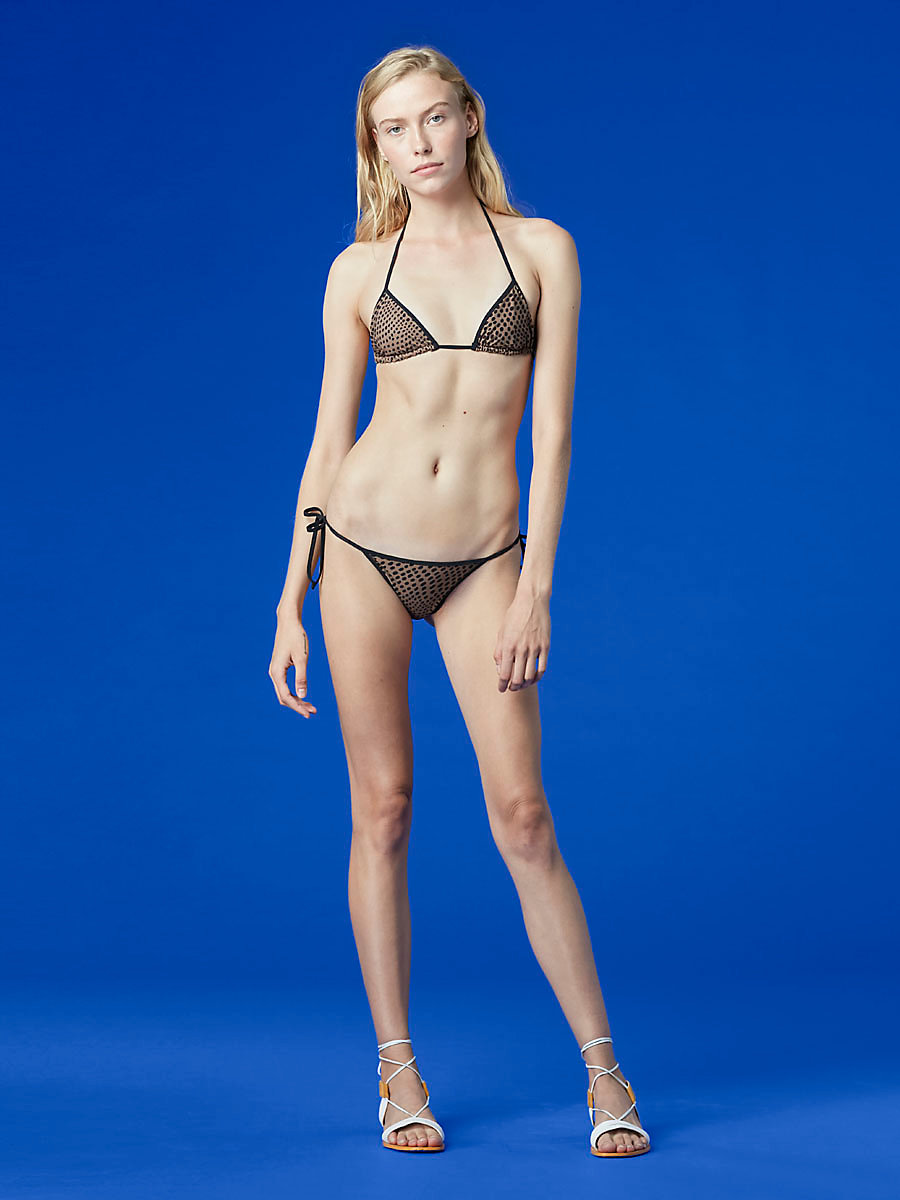 String Bikini Top in Easton Dot Clay/ Black by DVF