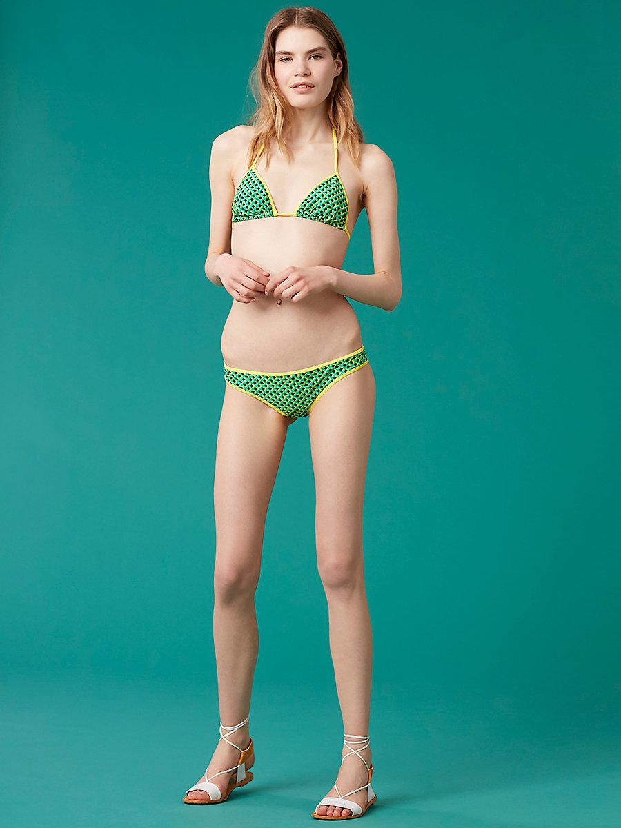 String Bikini Top in Laurel Check Jade Combo by DVF