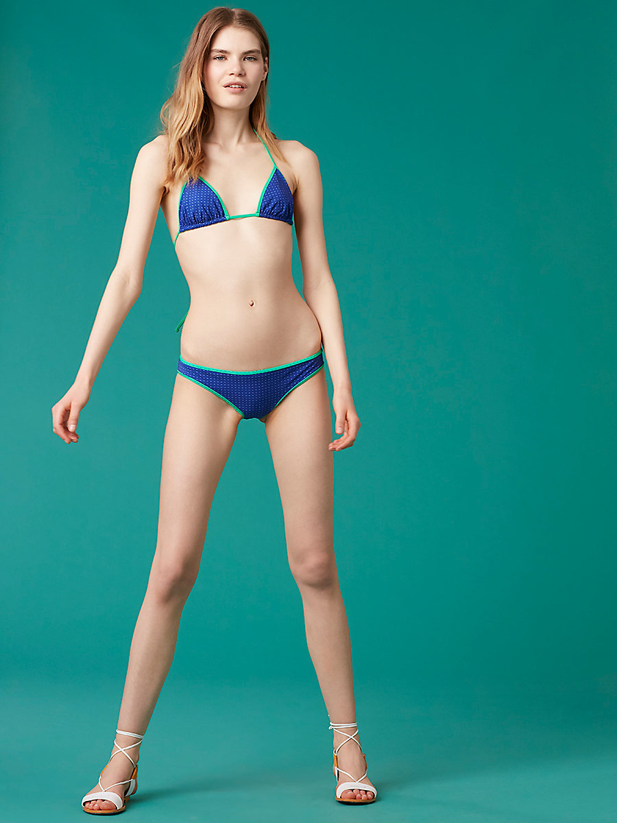 String Bikini Top in Ronsin Dot Klein Blue by DVF