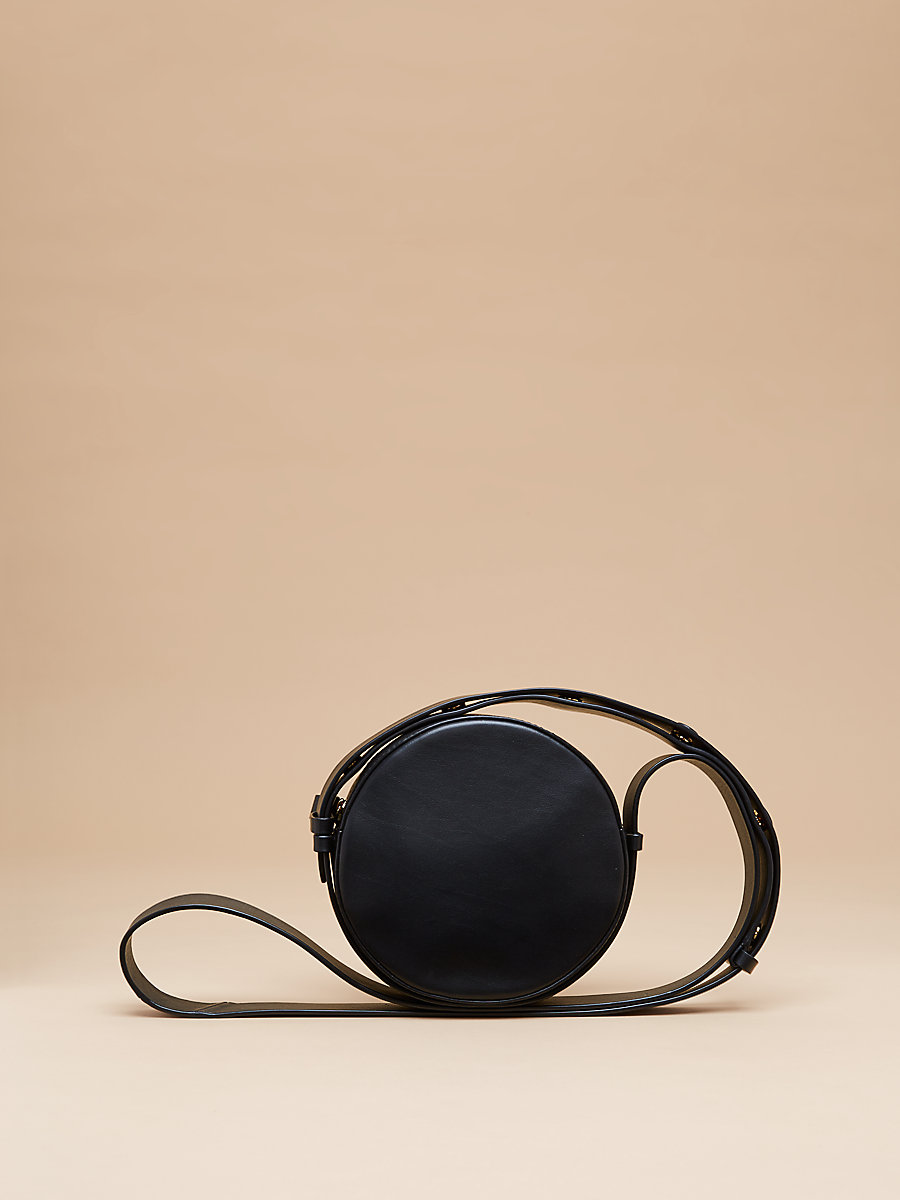 Leather Circle Handbag in Black by DVF