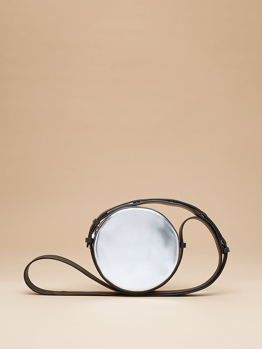 Leather Circle Shoulder Bag in Silver/ Black by DVF