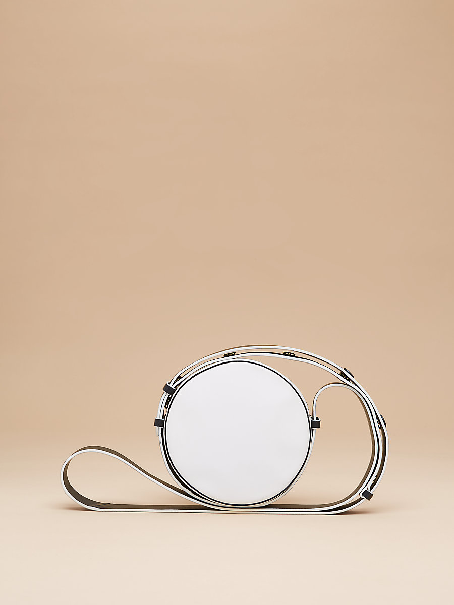 Leather Circle Handbag in White/ Black by DVF