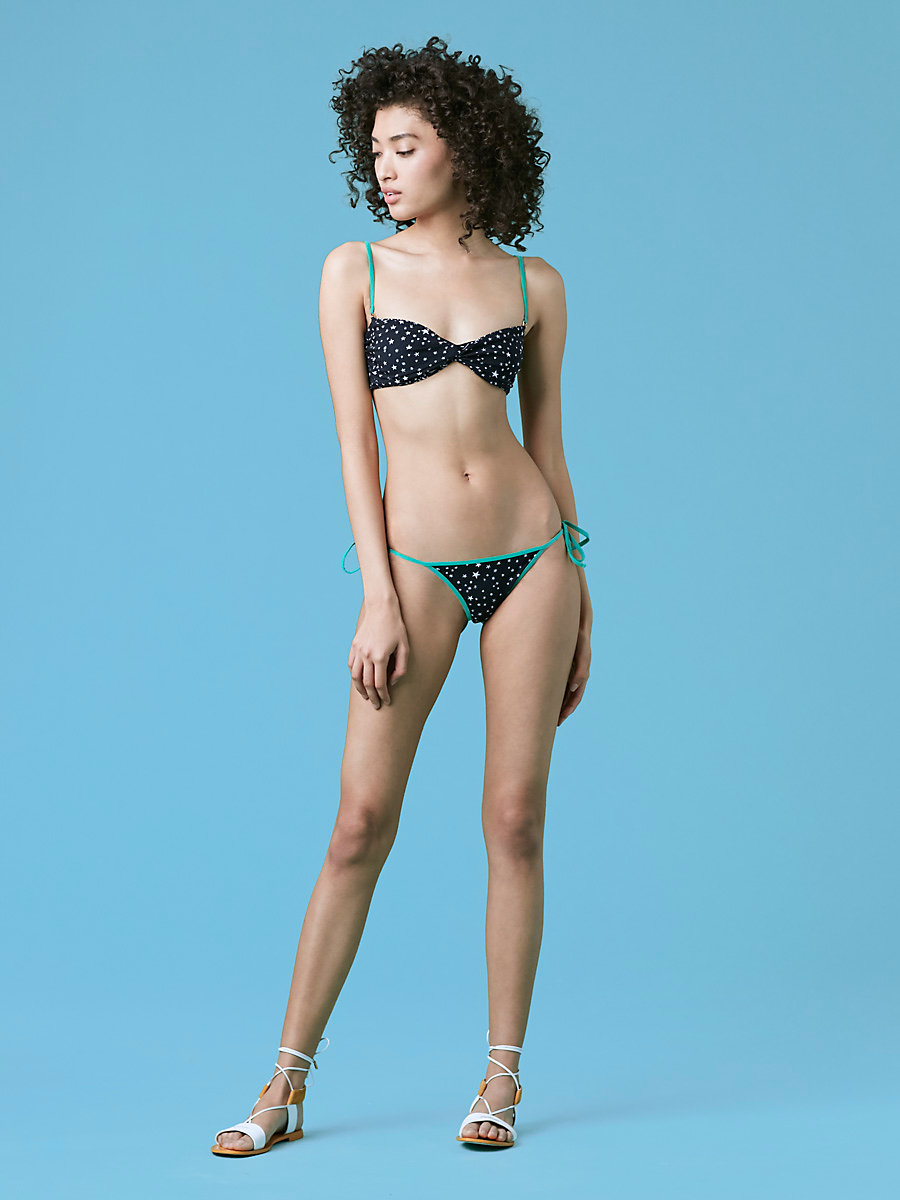 Twist Bandeau Top in Becket Black/ Surf Green by DVF