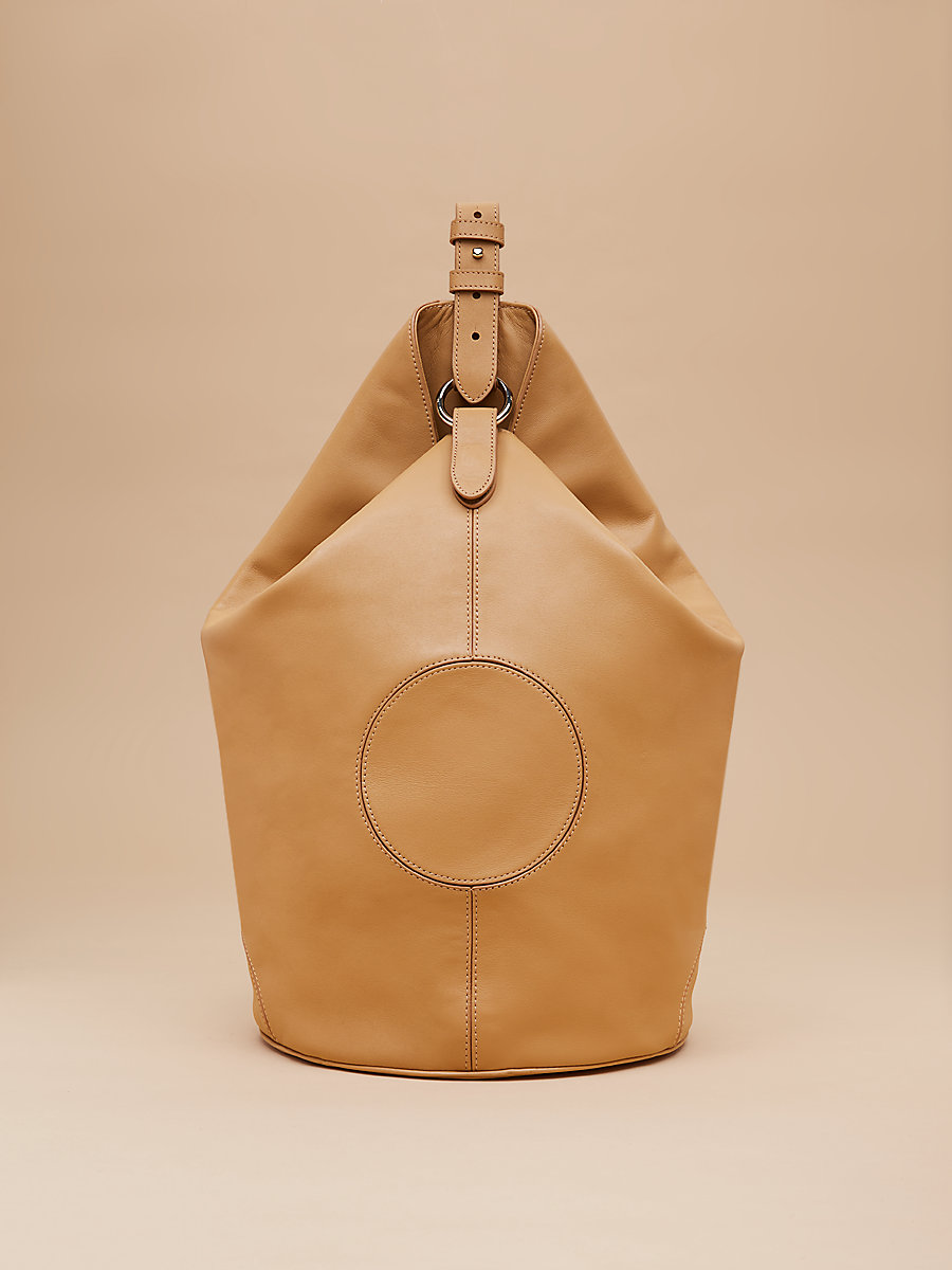 Leather Steamer Handbag in Wheat by DVF