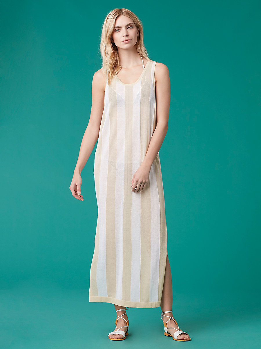 Floor Length Knit Dress in Bone/white by DVF