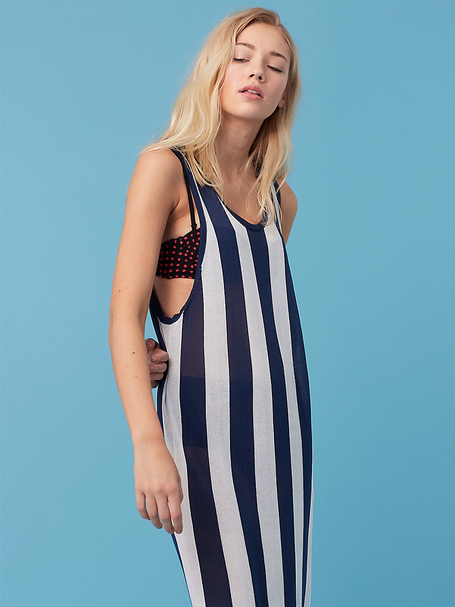 Floor Length Knit Dress in Navy/ White by DVF