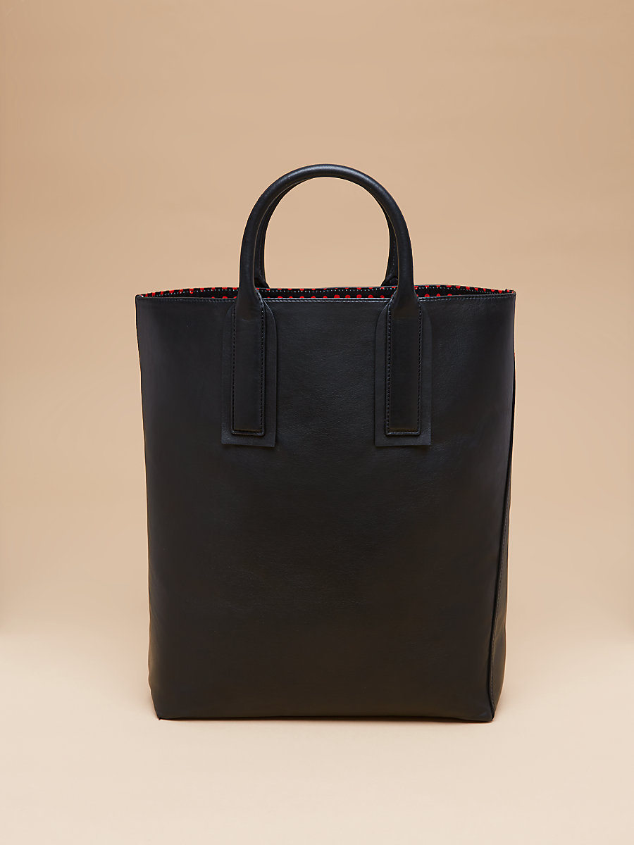 Leather Origami Tote in Black by DVF