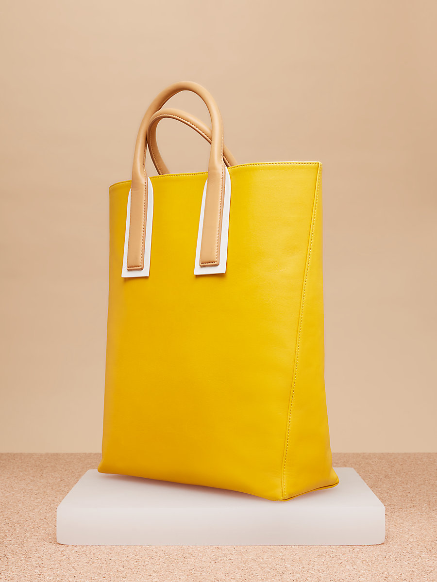 Leather Origami Tote in Soleil by DVF