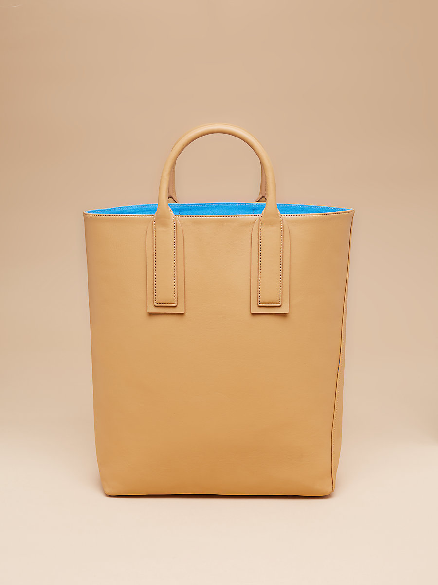 Leather Origami Tote in Wheat by DVF