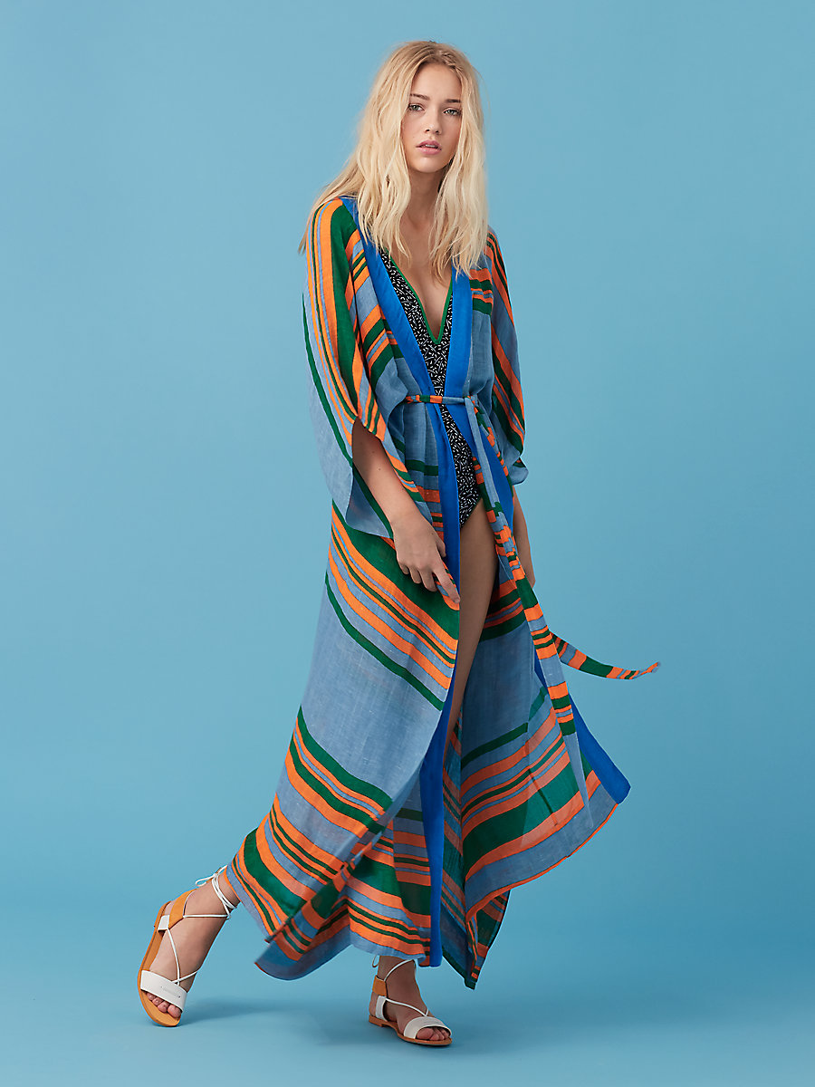Floor Length Wrap Dress in Borel Stripe Blue Breeze by DVF