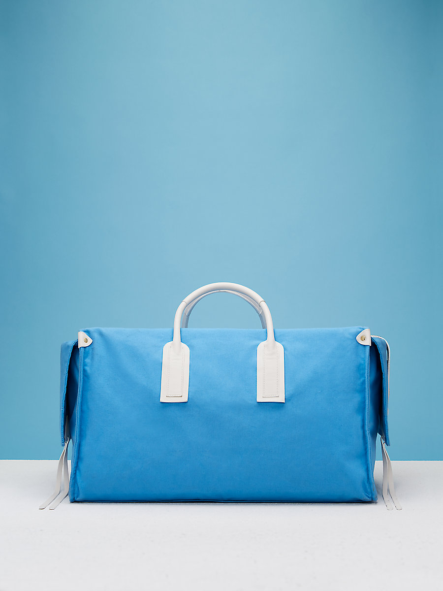 Weekender Canvas Handbag in Baby Blue/ Ultra White by DVF