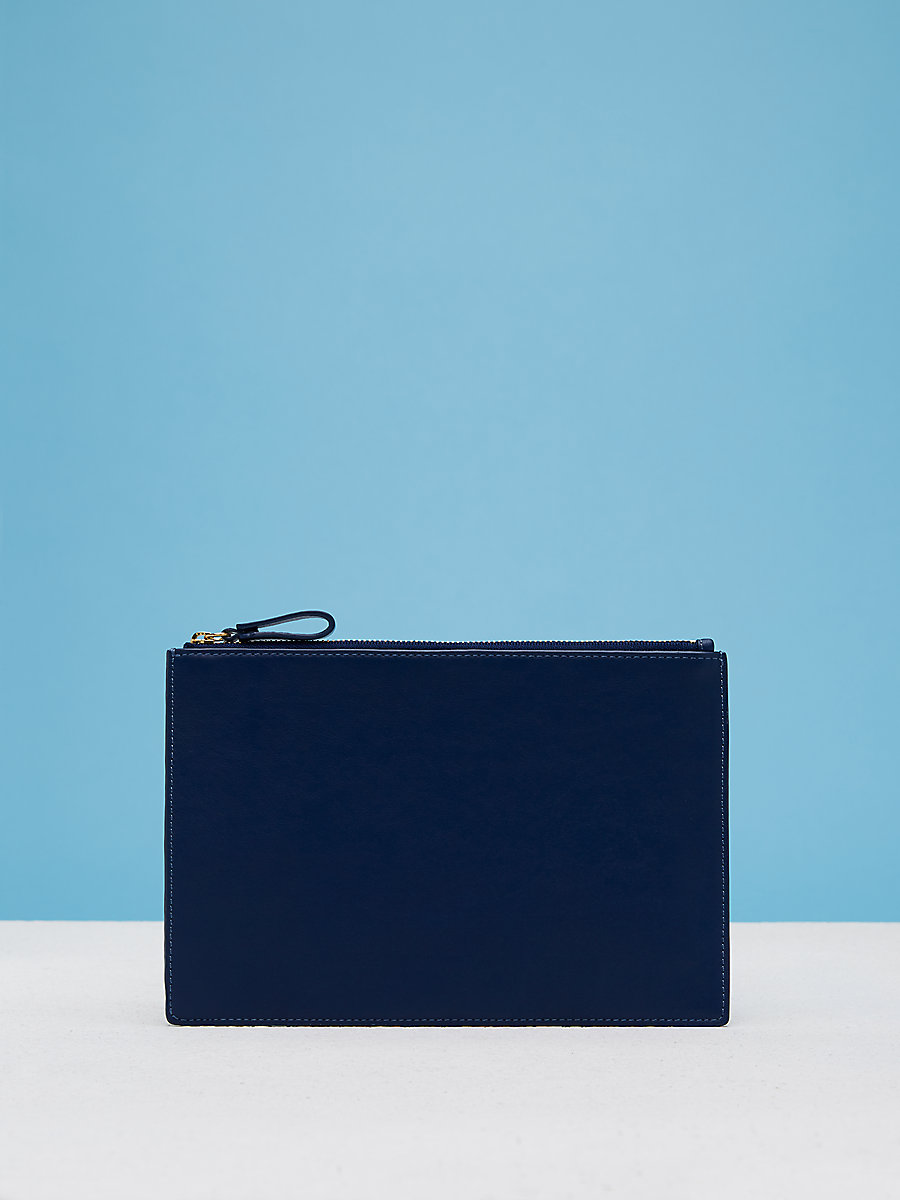 Zip Top Pouch in Black/marine Blue by DVF