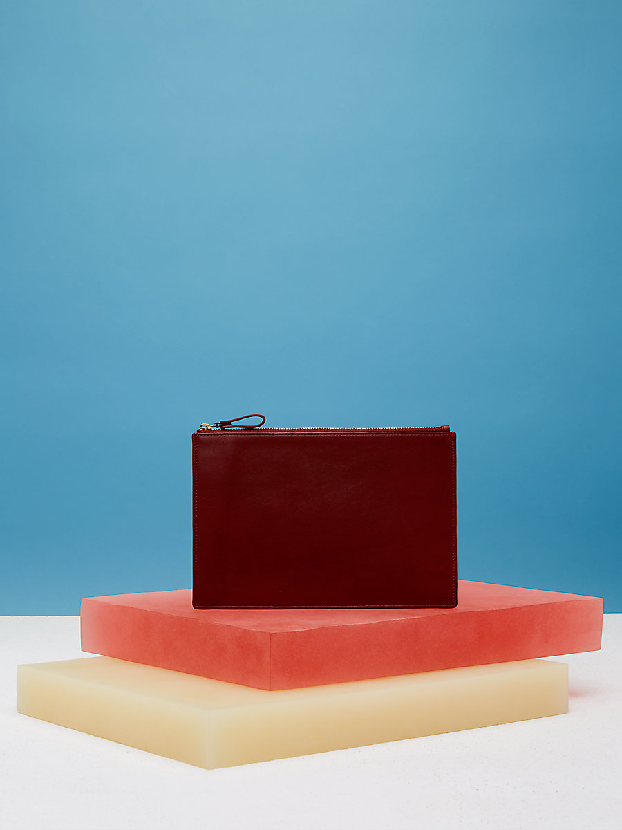 Zip Top Pouch in Red Wine/ Blood Orange by DVF