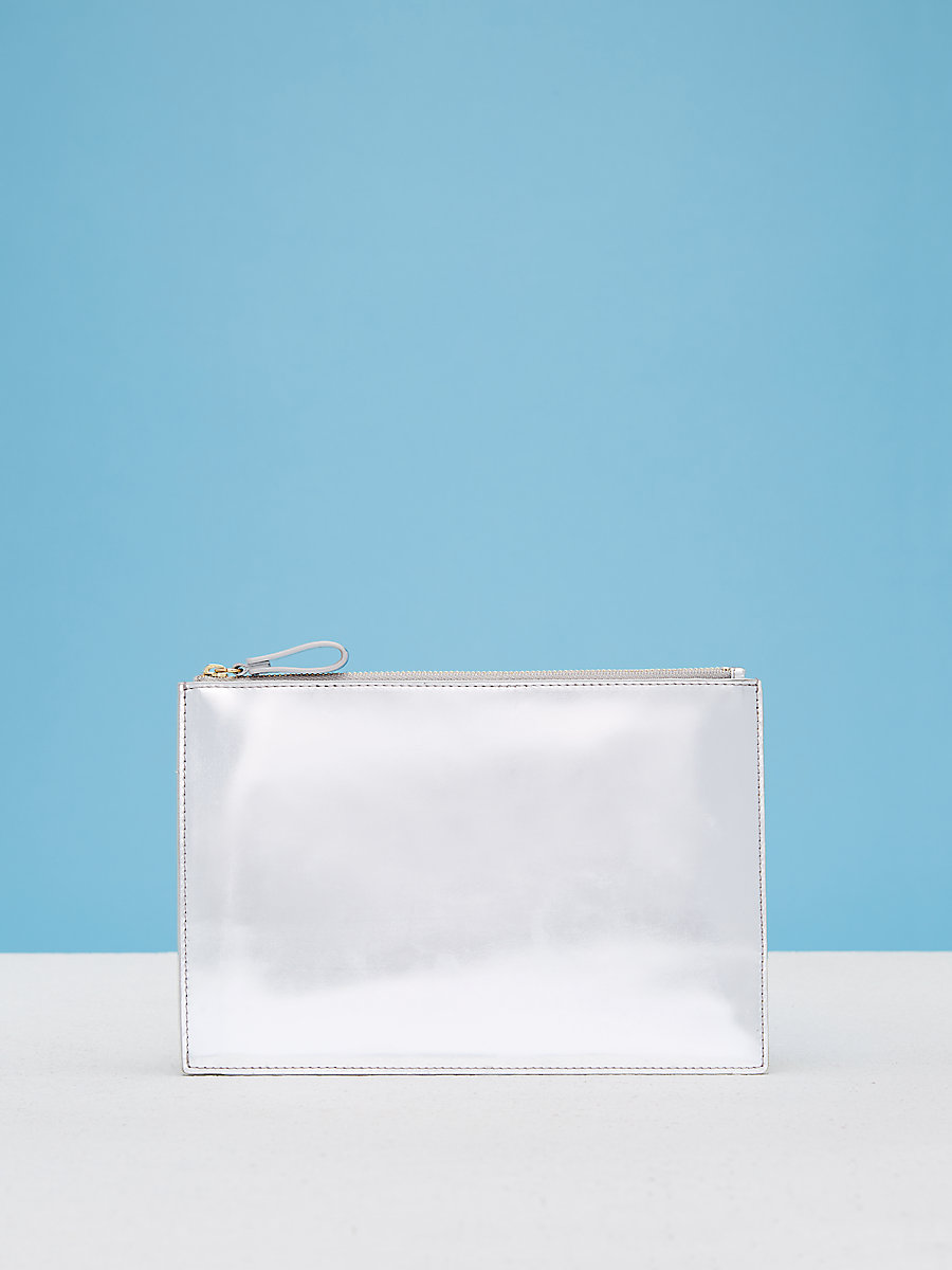 Zip Top Pouch in Silver/gold by DVF