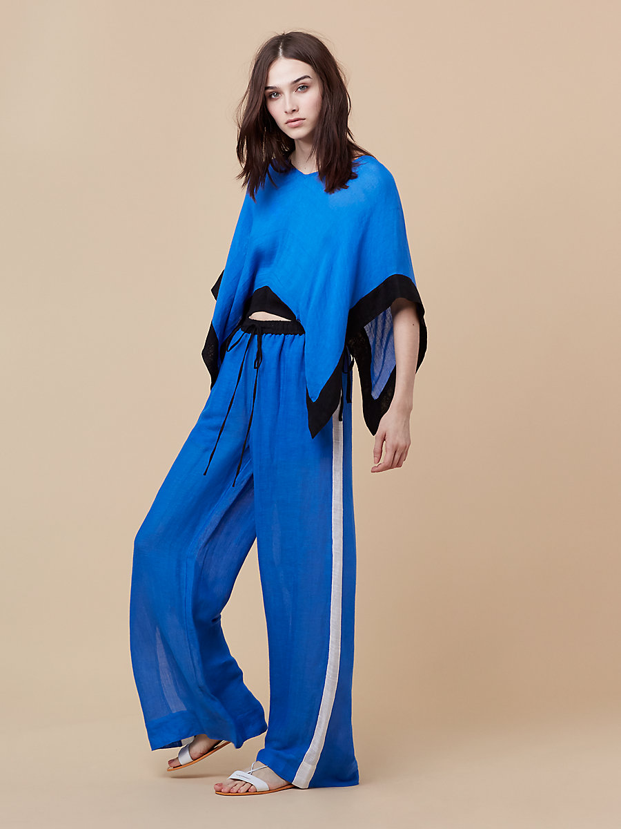 Linen T-Shirt in Sea Blue/ Black by DVF