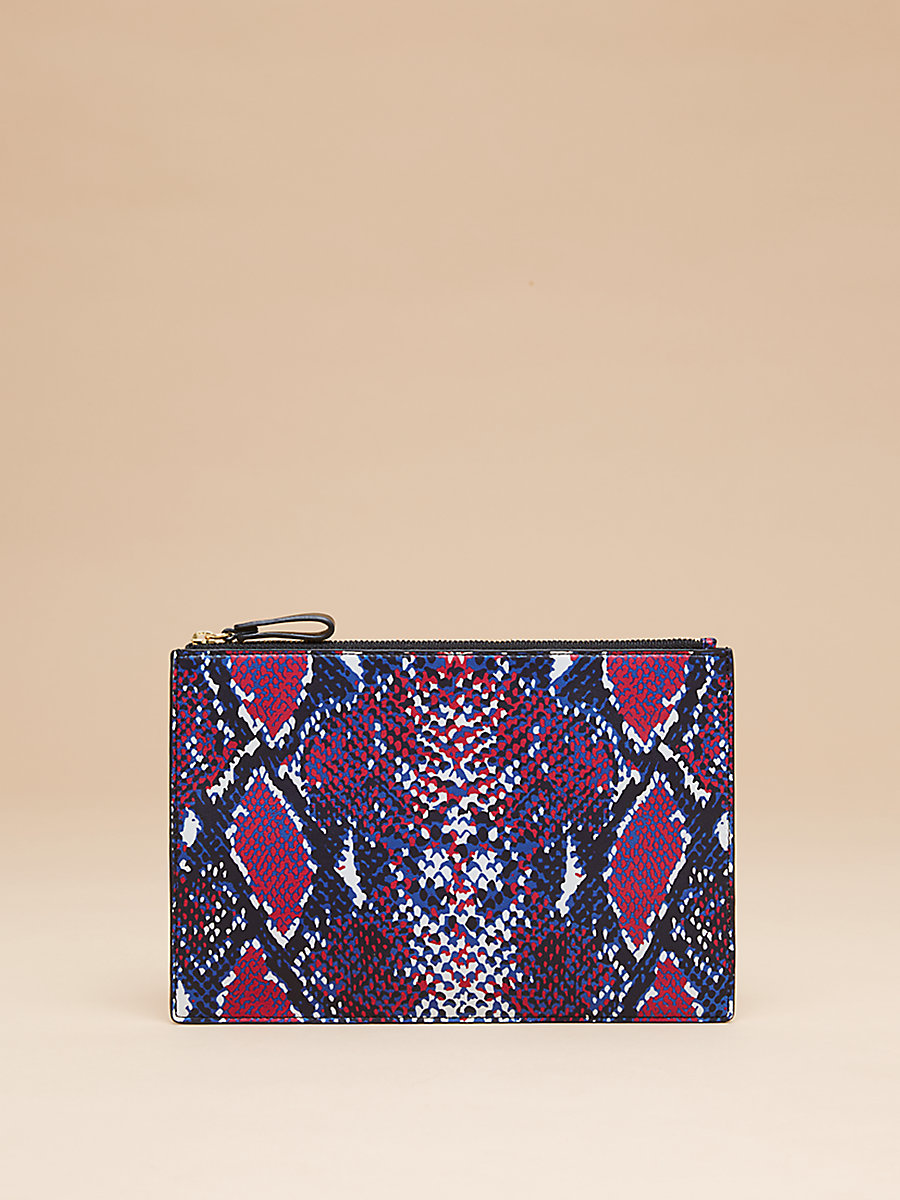 Zip Top Printed Pouch in Tissera French Blue by DVF