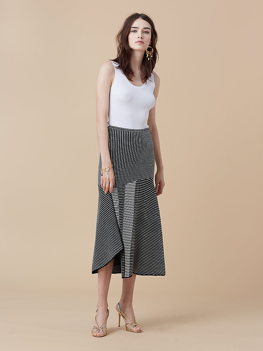 Knit Midi Skirt in Black/ Ivory by DVF