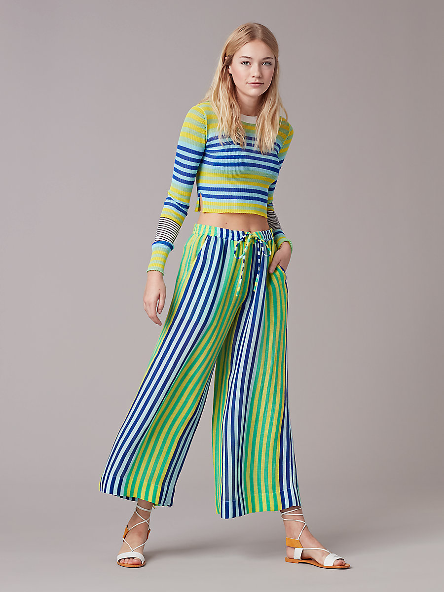 Beach Linen Culotte in Riverin Stripe Klein Blue by DVF