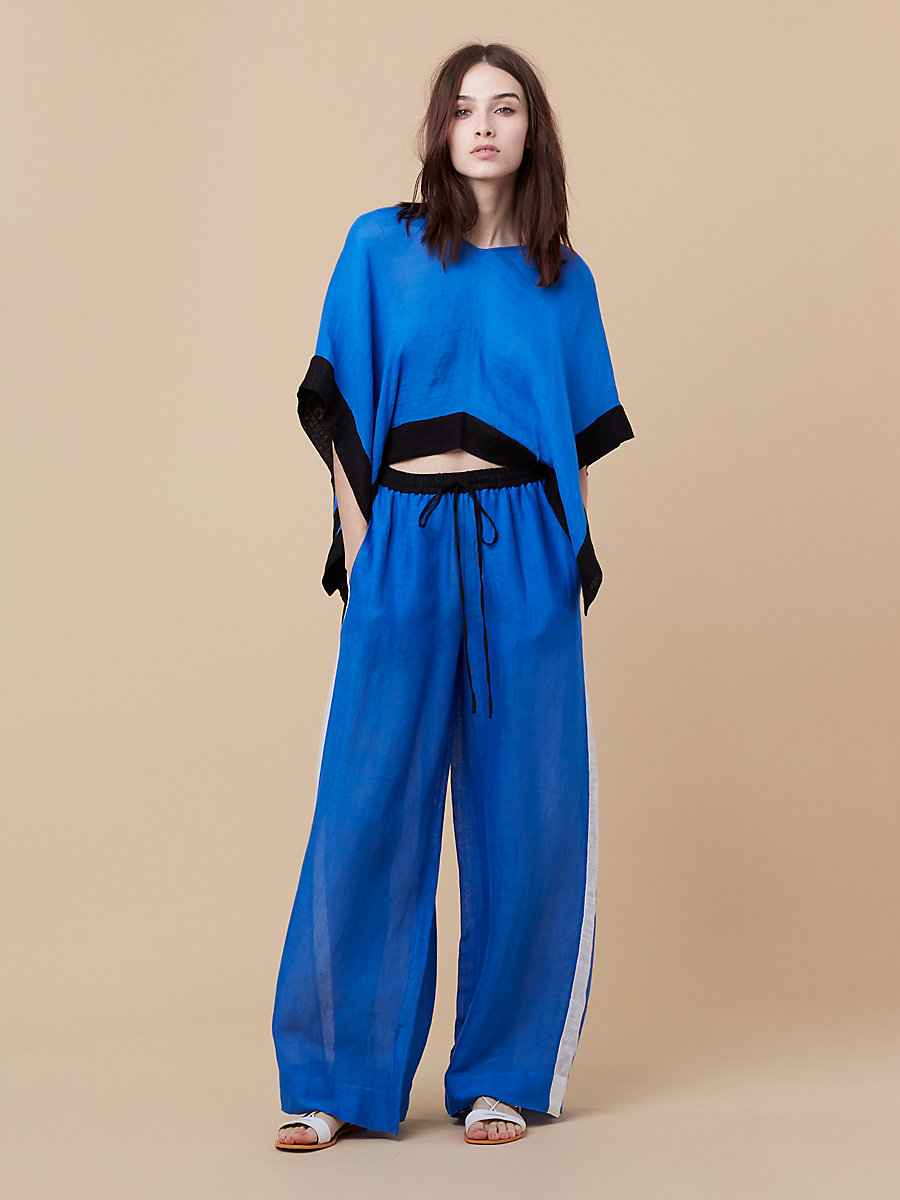 Beach Linen Wide Leg Pant in Sea Blue/ White by DVF