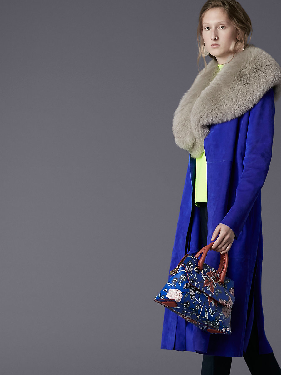 Suede Trench Coat in Electric Blue by DVF