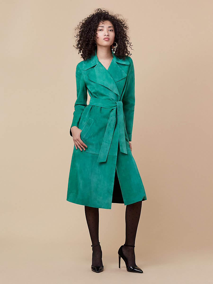 Suede Trench Coat in Green Envy/ Black by DVF