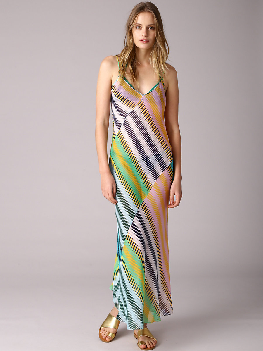 Chiffon Slip Dress in Anson Stripe Jade by DVF