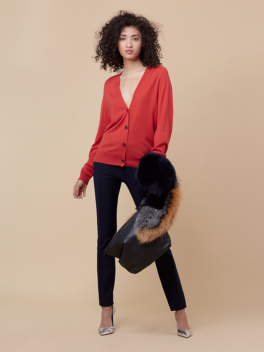 Oversized Knit Cardigan in Dare Red/ True Blue by DVF