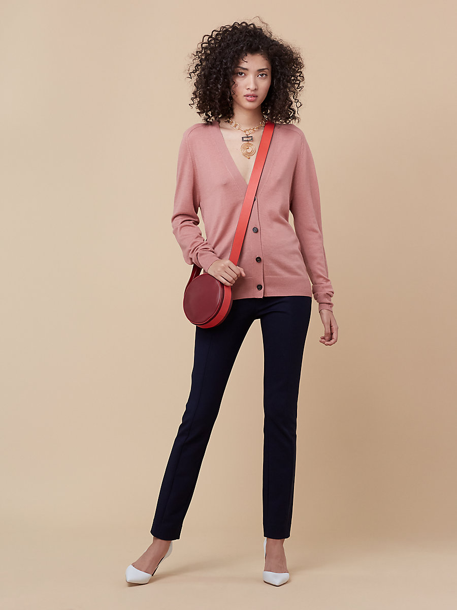 Oversized Knit Cardigan in Dusty Rose/ Dare Red by DVF