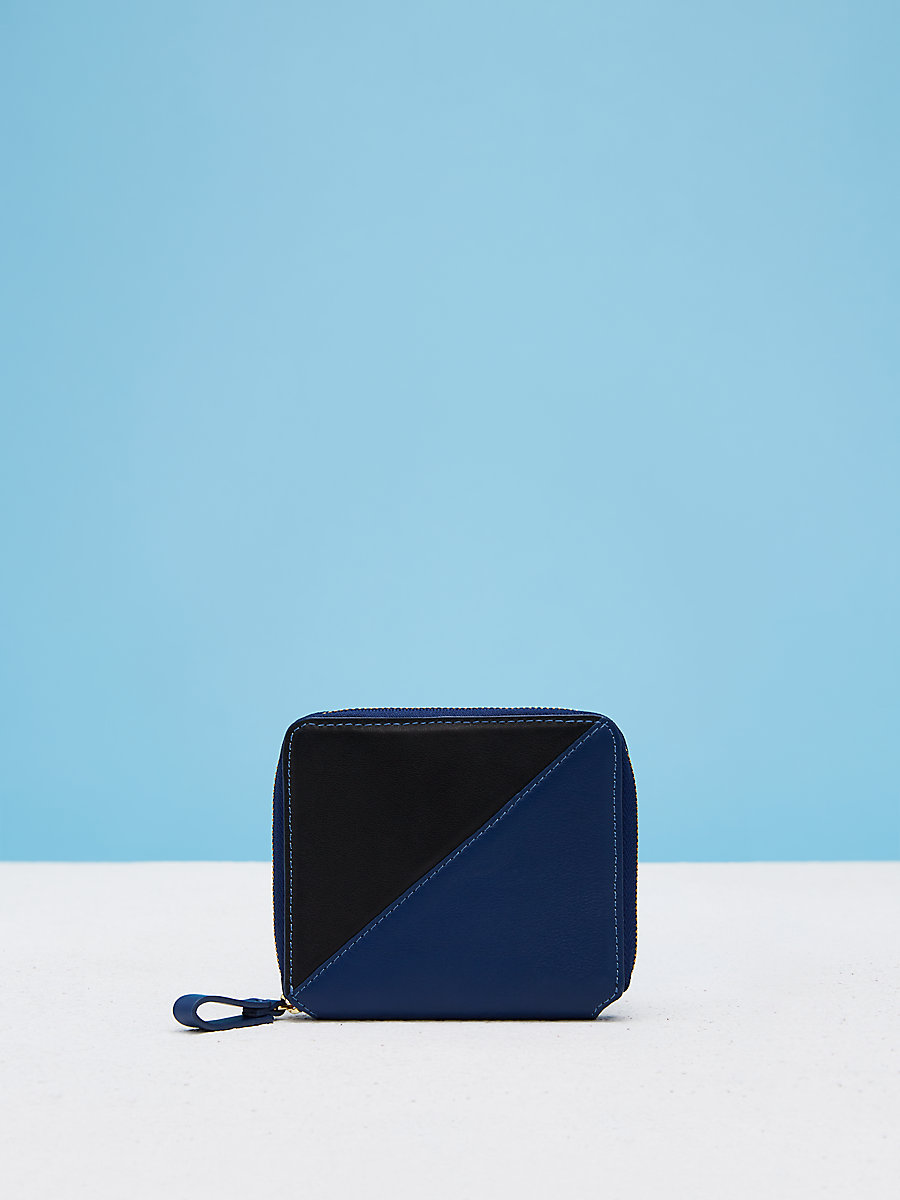 Small Zip Around Wallet in Black/marine Blue by DVF
