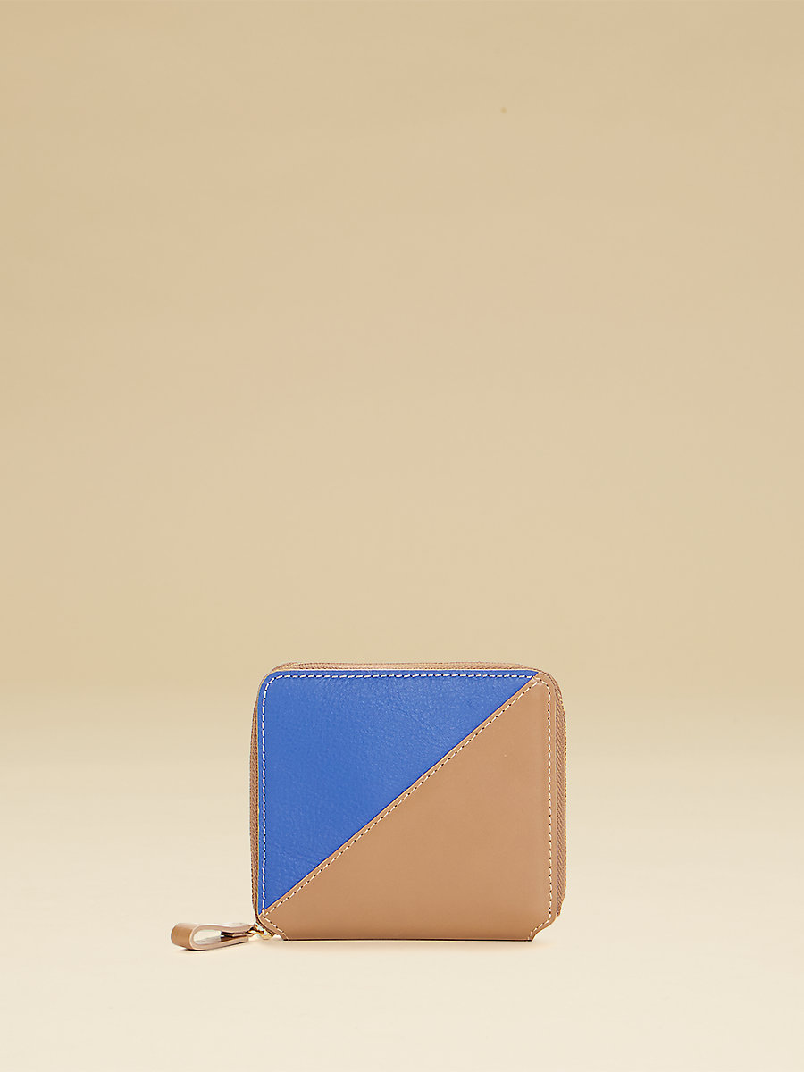Small Zip Around Wallet in Taupe/cobalt by DVF