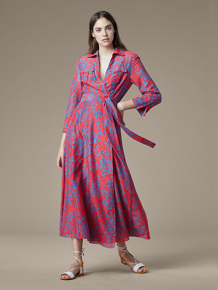 Collared Wrap Dress in Callow Bright Red by DVF