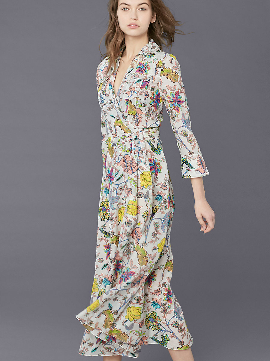 Collared Wrap Dress in Canton White by DVF